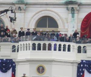 Obama taking the oath of office.