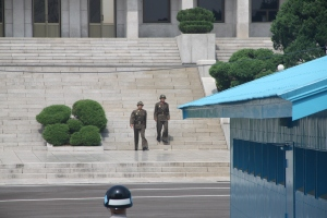 North Korean soldiers coming down the stairs
